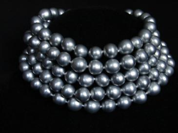 Vintage Chanel gunmetal pearls