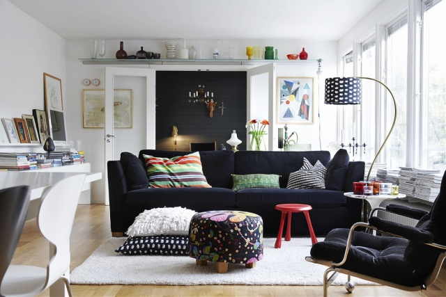 Modern Scandinavian style living. Photographed by Per Gunnarsson.