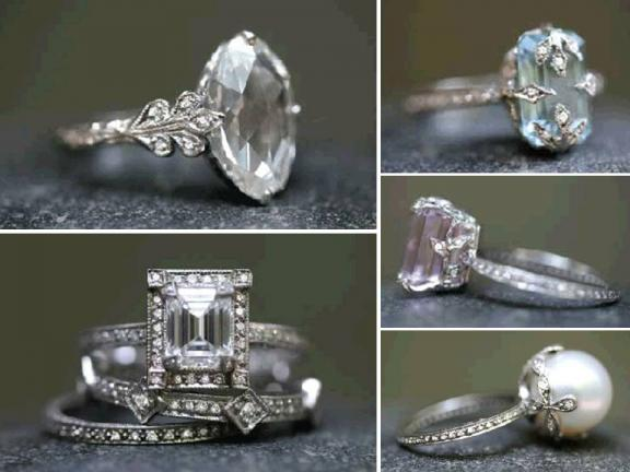 Cathy Waterman engagement and wedding rings