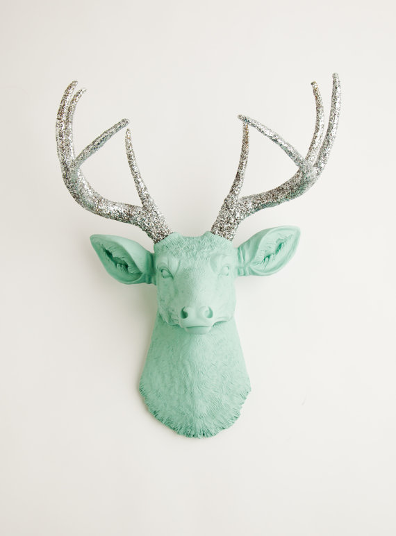 The Agnes - Seafoam Green W/ Silver Glitter Antlers Resin Deer Head- Stag Resin, White Faux Taxidermy shop, Etsy