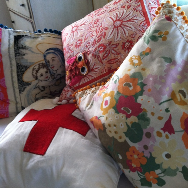 pillows by She's Happy (Stephanie O'Brien and Tuuli Design (Sheryl Bryant)