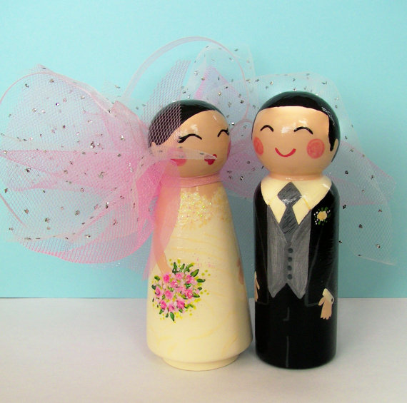 Hand Painted Love Boxes Custom Wedding Fairy Bride Groom Cake Topper Peg Dolls Wood, shop Etsy-Hand Painted Love Boxes