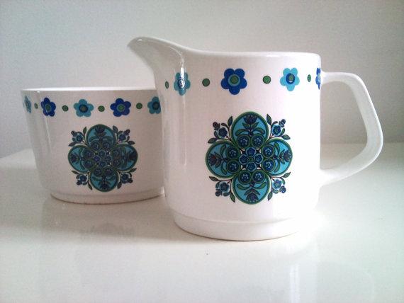 1960s Meakin Blue 'IMPACT' Jug and Sugar Bowl shop Love Lottie/Etsy