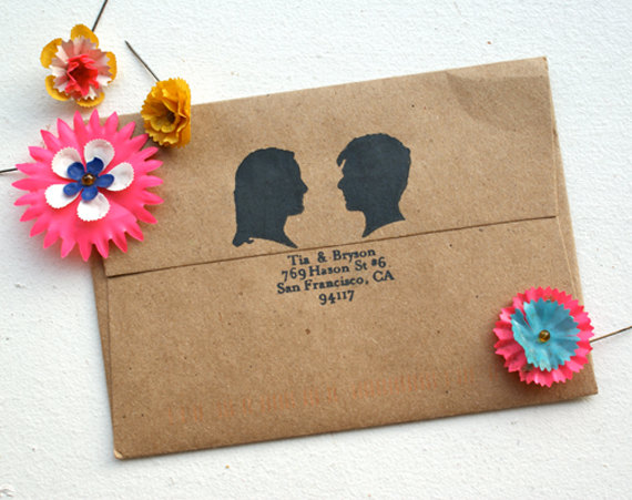 Customized silhouette rubber stamp, shop Etsy-House That Lars Built