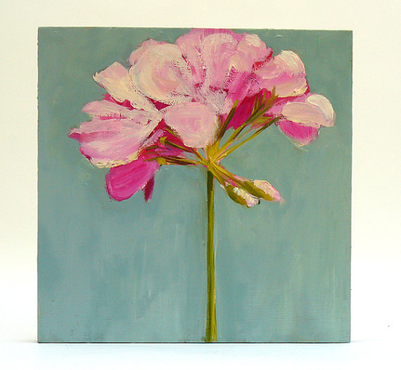Flower Painting Pink Geranium small Original fine art Oil still life on wood panel by HOomen, shop Etsy