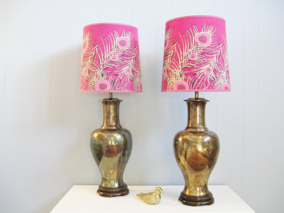 Vintage HOLLYWOOD REGENCY CHINOISERIE Aged Bronze Patina Ginger Jar Lamps, shop Etsy-Fabulous Mess