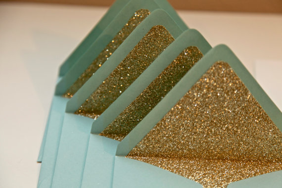 Gold Glitter envelope liners, shop The Persian Laundry-Etsy
