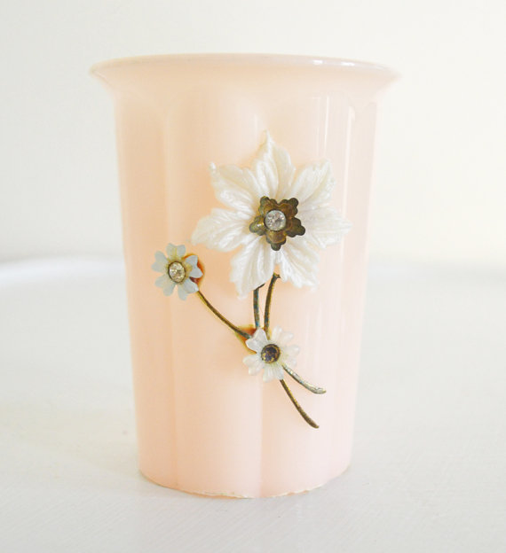 Adorable Little Pink Vintage Cup White Blue Flowers Rhinestone Crystals Gold Menda Co. Vintage Plastic Peach Shabby Cottage Chic Boudoir-Mothra Sue & Co., shop Etsy