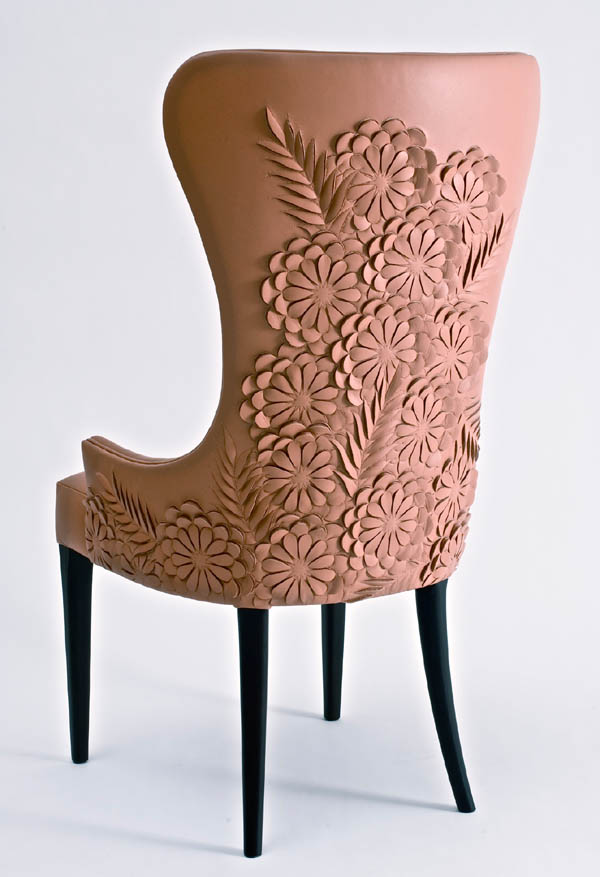 """Helen Amy Murray is a designer based in the UK who produces bespoke upholstery textiles for the luxury market. Her designs are individually carved into a variety of surfaces, such as  wool felt, silk and high-tech non-woven materials, but especially leather."" via-Tractor Girl"