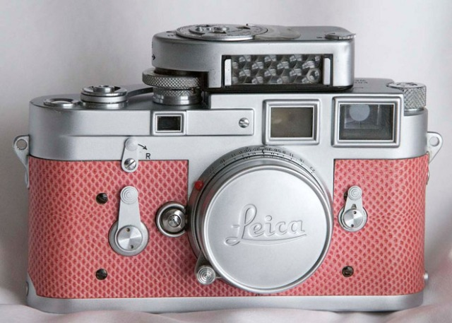 Pink Leica: Paul Cuthbert, owns this Leica with paradise pink snake skin detail from 1956 – the only camera of its kind in the world.
