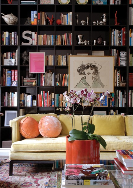 Colourful & Contemporary Library via Canadian House and Home