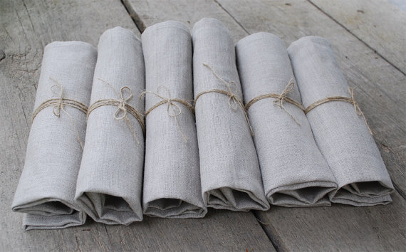 "LINEN NAPKINS .SET of 4. Natural Grey . 13""x 13"" Shop Etsy at Magdalinen Home"