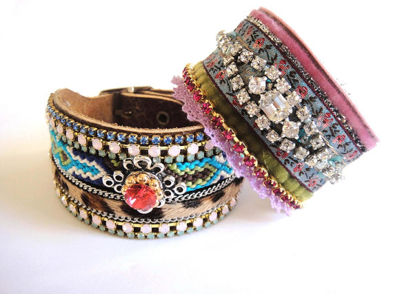 Rhinestone cuff bracelet in pink blue and green - velvet and ribbons with a sparkling vintage rhinestone bracelet upon a leather cuff. Shop Etsy at One Of A Kind jewelry design