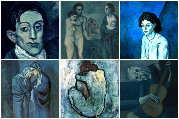 Picasso's Blue Period (1901-1904) began with a journey through Spain and the suicide of a friend. He became depressed and painted in blue hues and austere colors and his subject matter was often of the downtrodden of society.