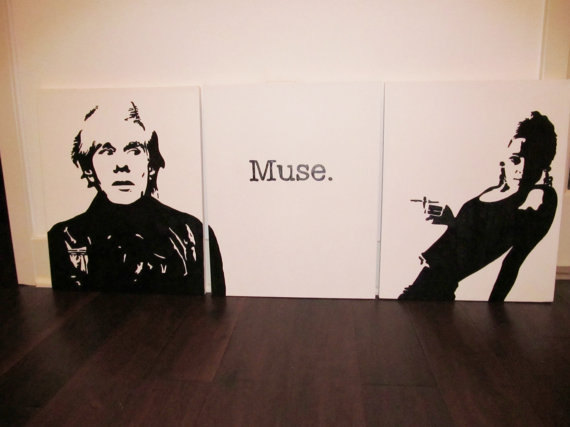 Andy Warhol and Edie Sedgwick Muse painting, shop Jack Rivington-Etsy
