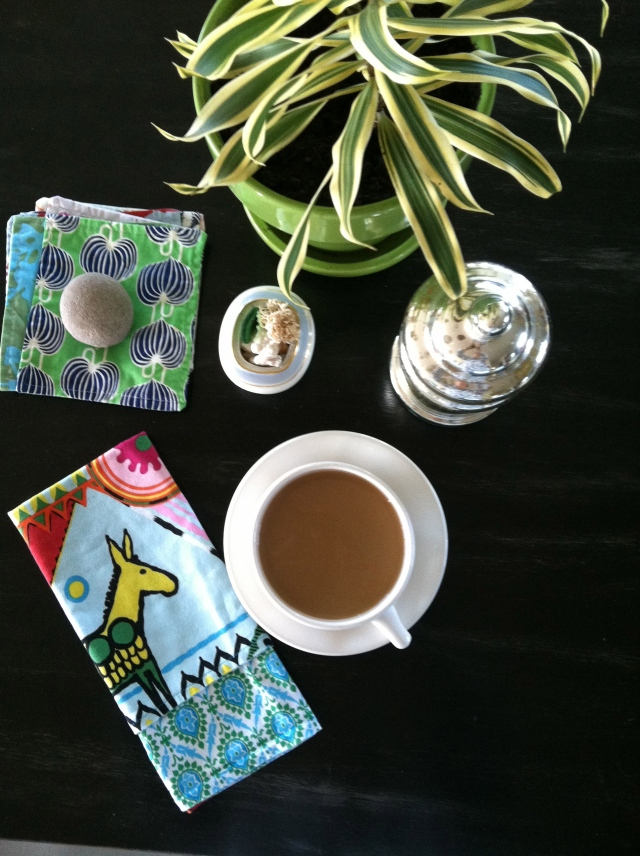 (napkins by She's Happy Design Co.) A morning at home. Photographed by Feather & Nest