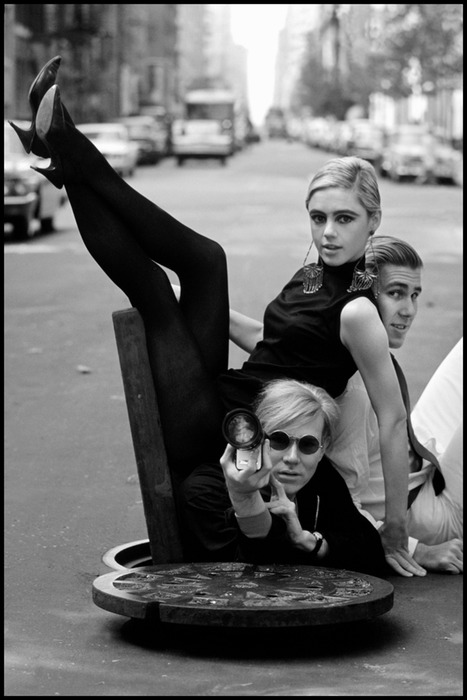 Andy Warhol, Edie Sedgwick, Chuck Wein, 1965. via-60's Fashion