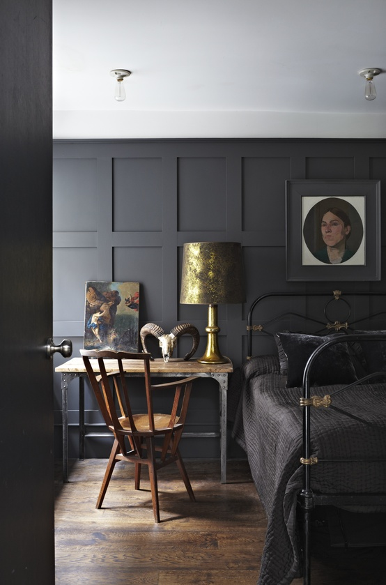 Pinterest, JILL @ the blue house-Panelling in Farrow & Ball's Railings Estate, Eggshell Originally pinned by Farrow & Ball onto Bedroom Inspiration