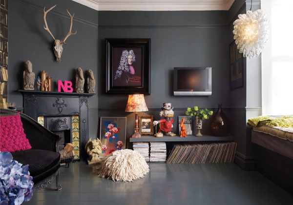 House and Home: the re-design of Gemma Ahern's apartment, by her fabulously talented sister, Abigail Ahern.Farrow and Ball 'Downpipe' was used on the walls.