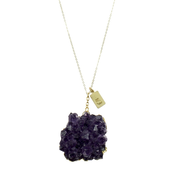 "Nashelle-This raw Amethyst agate is a great little piece.  Adorned with a tiny rectangle charm stamped with an owl, this is truly an organic, special necklace! Available in 14k gold fill, sterling silver, or brass. Necklace measures approximately 18"" in length."